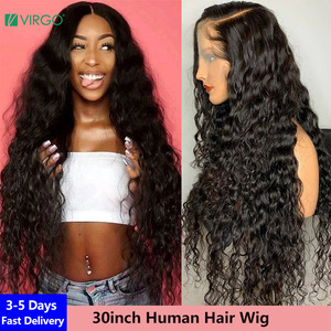 Virgo 28 30 inch Brazilian Water Wave Lace Front Wig 13X6 Transparent HD Lace Front Human Hair Wig for Women 4X4 Closure Wig