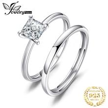 JPalace CZ Engagement Ring Set 925 Sterling Silver Rings for Women Anniversary Wedding Rings Band Bridal Sets Silver 925 Jewelry сковорода гриль scanpan pro iq 27 см