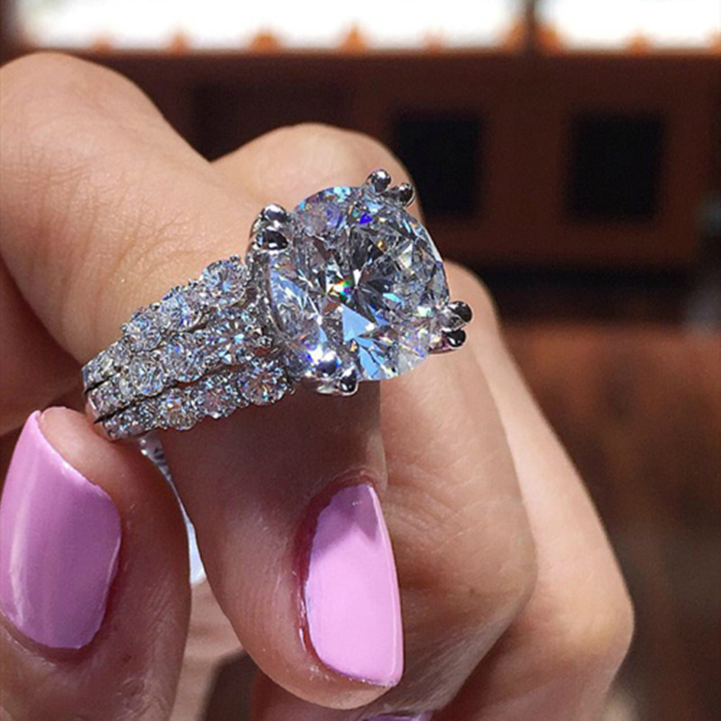 FFLACELL 2020 Luxury Shiny Multi-Plated Silver Plated Silver Rhinestone Round Zircon Ring Engagement Wedding Jewelry For Women