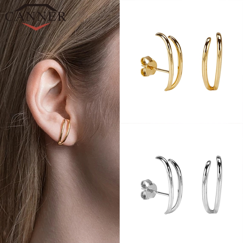 Fashion Trend INS Style 925 Sterling Silver Stud Earrings For Women Simple Geometric Ladies Earrings Party Jewelry
