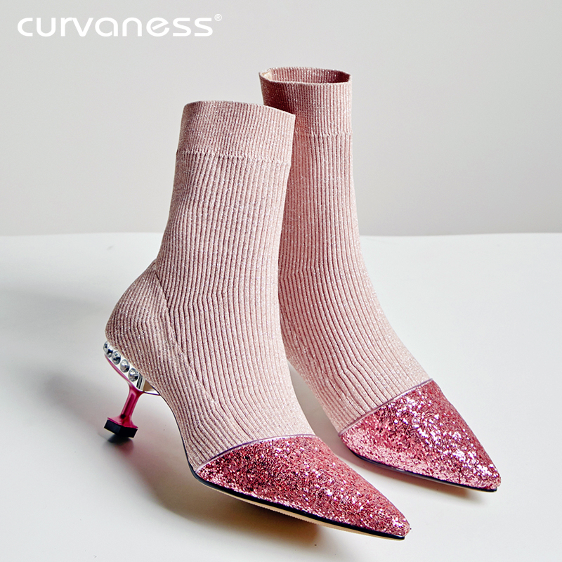 Curvaness 2019 Autumn Women Luxury Bling Stretch Fabric Ankle Patchwork Med Heel Knit Elastic Sock Boots Pink Black Gold 33-40