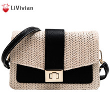 Straw Small Square Women Handbag 2019 New Female Lady National Shoulder Messenger Bag Beach Holiday