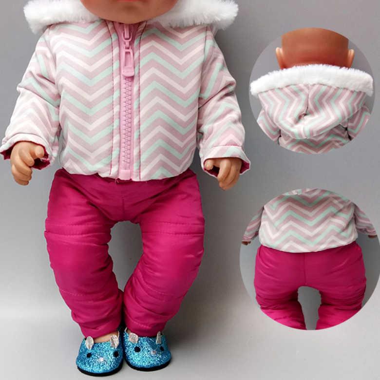 Boneka Pakaian Bayi Baru Lahir Boneka Jaket Celana Set 18 Inch Amerika Boneka Pakaian Musim Dingin Down Mantel Olahraga Pakaian