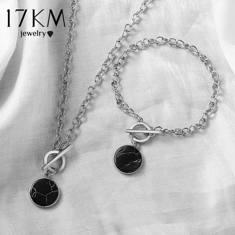 17KM Trendy Round Marble Pendant Chain Bracelet For Women Silver Color Punk Minimalist Bangles Female Fashion 2021 Jewelry