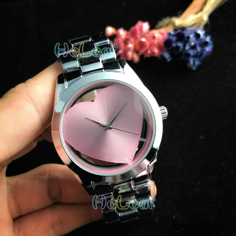 Luxury Fashion Women Watches Silver Gold Round Stainless Steel Band Quartz Hollow Heart Watch Black Female Clock Montre Femme