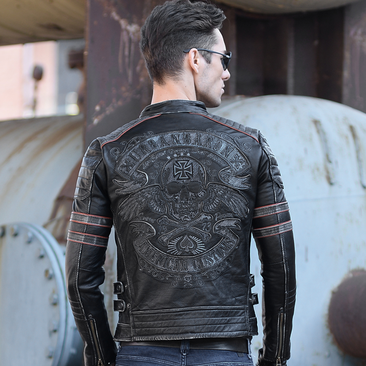 Fry Street Lear lear!Head Layer Cowhide Collar Paragraphs Short Tide Male Lear Jacket Skull Embroidery Locomotive Suit