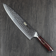 10 inch damascus chefs knife professional kitchen knives hammer sharp long blade with rosewood handle 4 chic chefs horizontal ceramic knife 10 3cm blade