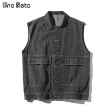 Una Reta Hip Hop Vest Men Autumn New Fashion casual Drop shoulder design Vest Sleeveless Jacket Men's Cowboy Vest Streetwear(China)