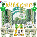 Wild One 1st Geburtstag Wald Tier Geschirr Dschungel Safari Geburtstag Dekoration Partei Liefert Papier Platten Tasse Servietten banner