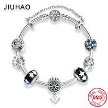 925 Sterling Silver Charming Anchor CZ Bracelets Safety chain Charms Fashion woman Bracelet Bangles Luxury Jewelry Gift(China)