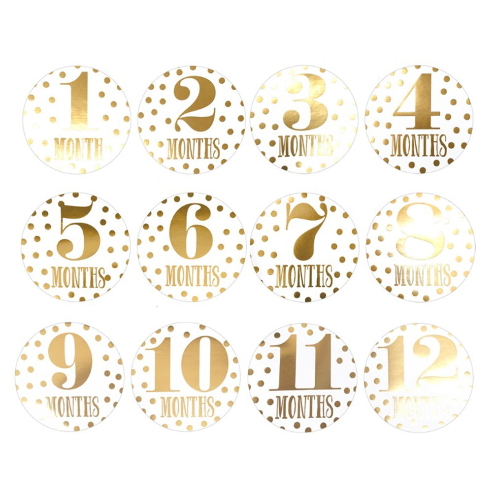 12pcs Memory Monthly Stickers With Wide Scope Of Application Simplicity Pregnant Women Newborn Baby Milestone Photo Props