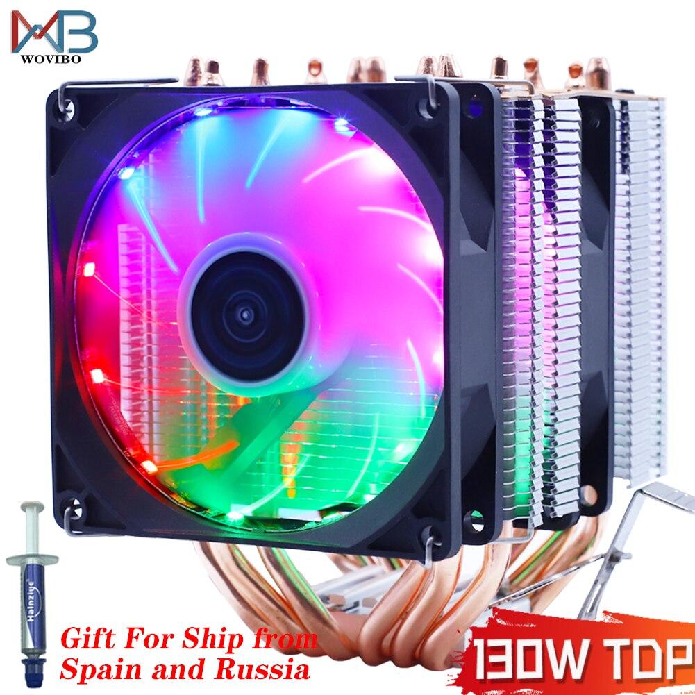 6 тепловые трубки RGB Процессор кулер бесшумный PWM 4PIN 130 Вт для Intel LGA 1150 1151 1155 1200 1366 2011 X79 X99 AM3 AM4 Ventilador