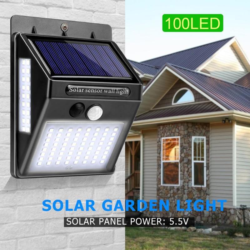 100 LED Solar Powered Sun Light Light Control Human Sensing Waterproof Motion Sensor Wall Lamp Yard Decor Outdoor Courtyard