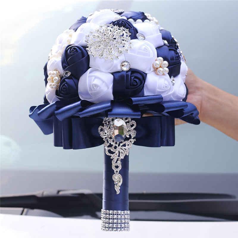 New Personalizzabile Strass In Possesso di Fiori Bouquet di Nozze Della Sposa Blu Scuro Bianco Nastro Rosa Fiori Artificiali Bouquet W3217B
