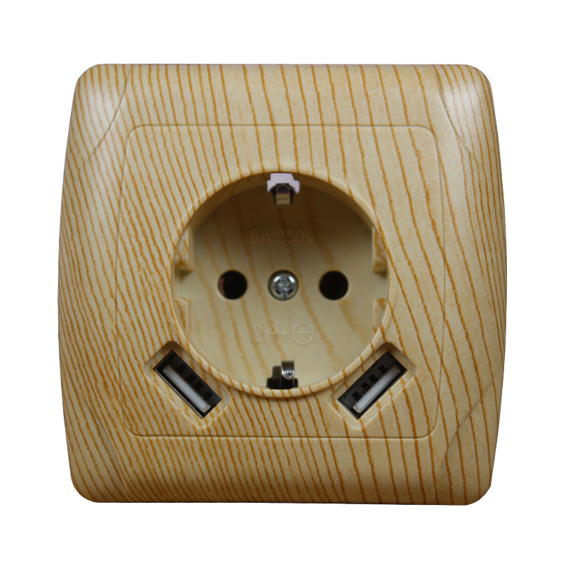 2019 new design USB Wall Socket Free shipping Double USB Port 5V 2A Usb wood tree color prise usb murale steckdose AW001