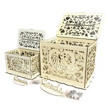 DIY Wooden Hollowed Letter Storage Box Gift Wedding Cards Small Cases with Lock