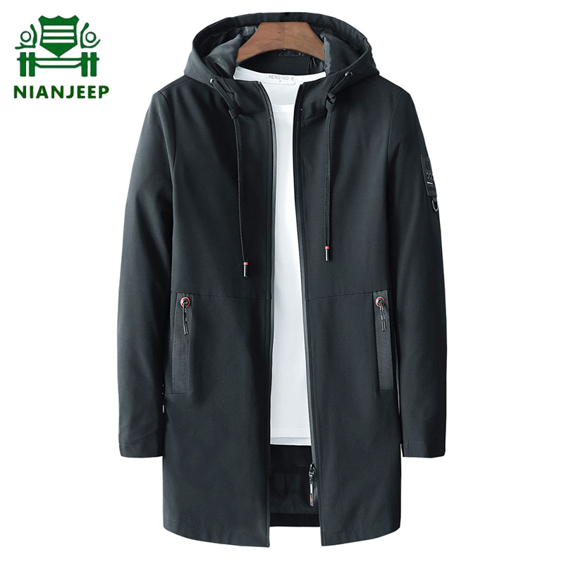 2020 Men's Spring Autumn Casual Long Jacket Trench Coats Men Fashion Hooded Solid Elastic Windbreaker Pocket Trench Jackets Male