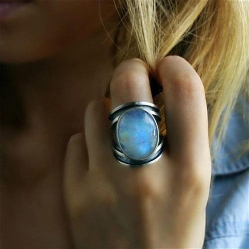 Modyle Tibetano Do Vintage Grandes Anéis de Cristal Para As Mulheres Boho Indiano Antigo Anel de Pedra Da Lua de Cura Jóias Meninas Senhoras Presentes
