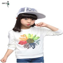 Hot Sale Girls Clothes Spring And Autumn T-shirt Floral Prin
