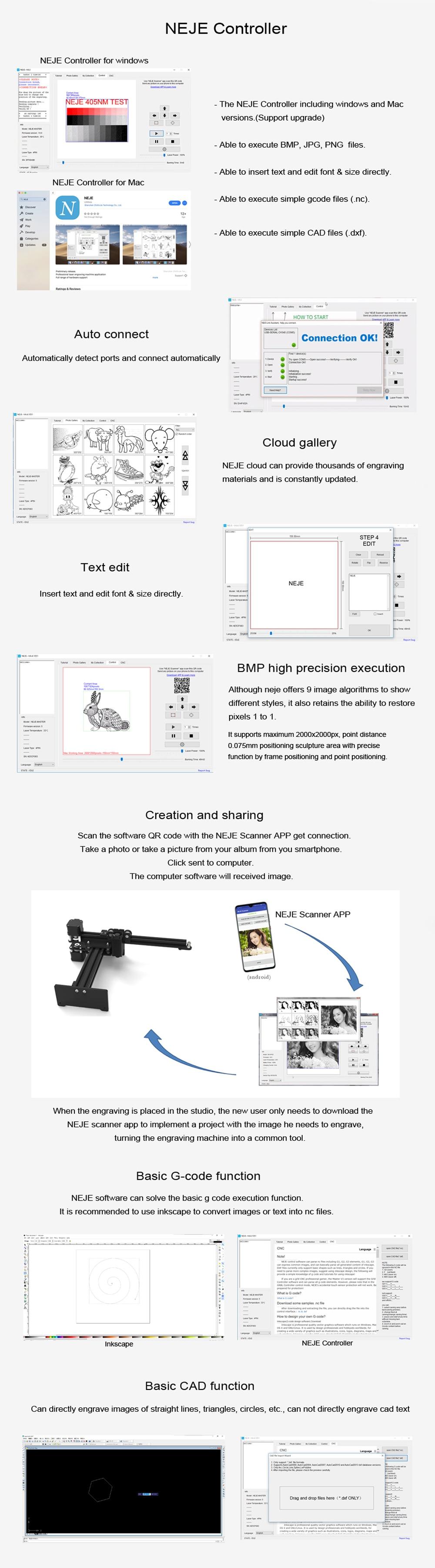 NEJE Master CNC Laser Engraver/Laser Engraving Machine for Metal Engraving