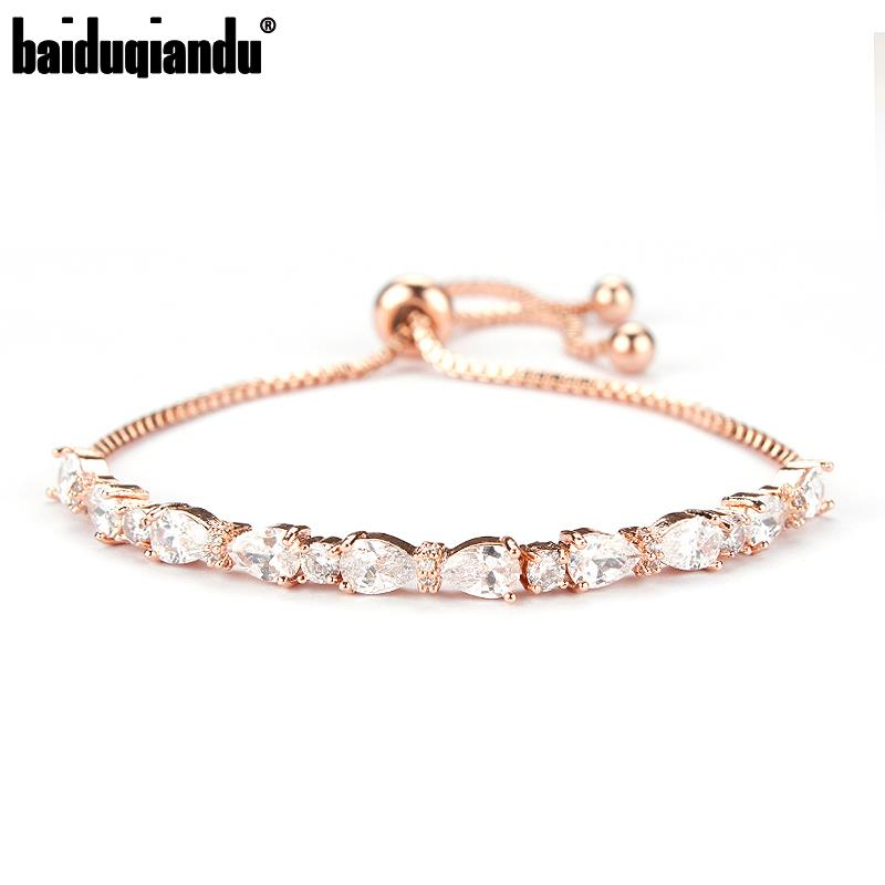Wedding Bride or Bridesmaid Jewelry Cubic Zirconia Round and Teardrop CZ Bracelet