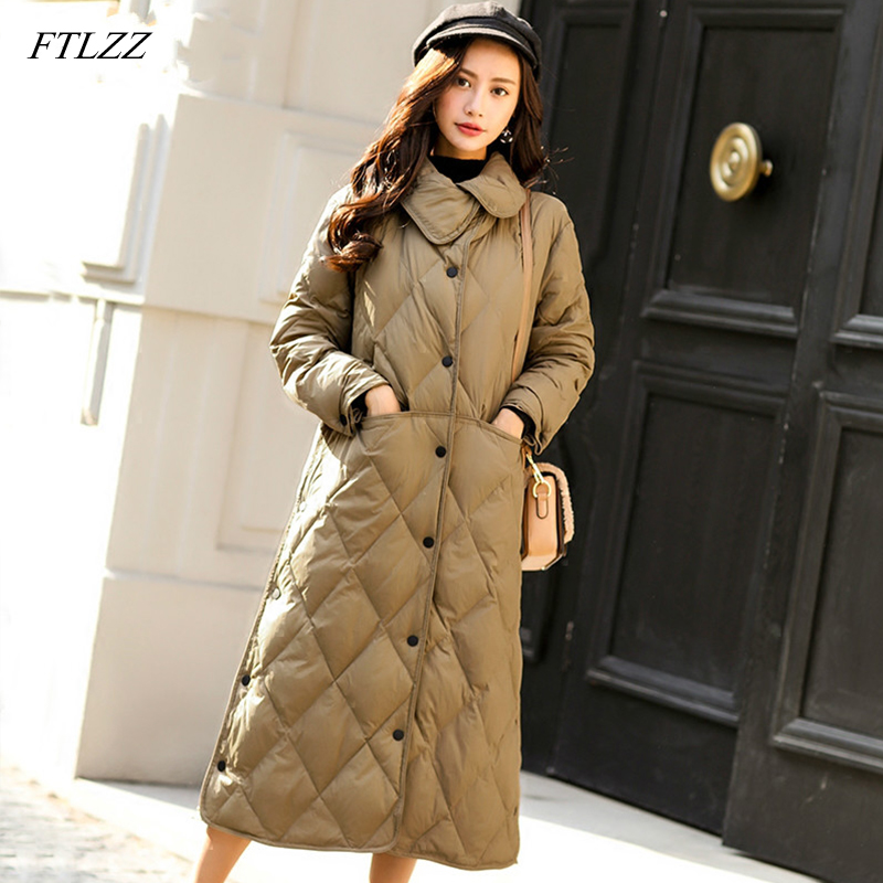 FTLZZ Winter 90% Ultra Light White Duck   Down   Jacket Women Single Breasted Parkas Slim Outwear Female   Down     Coat