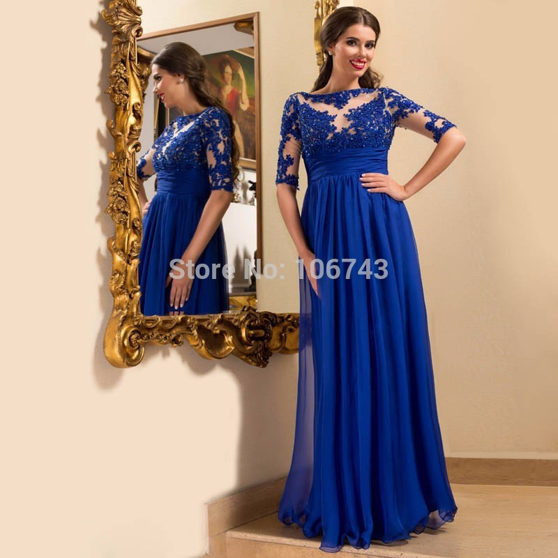 Long Mother Of The Bride Dresses With Half Sleeve Robe De Soiree Real Madred Jersey Royal Blue Chiffon Appliques Beaded 2016