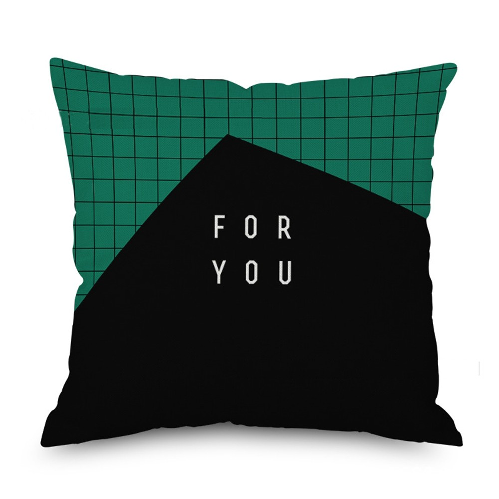 Hot 45*45CM Mysterious Green Cushion Cover Polyester Throw Pillow Case Letter Geometric Art