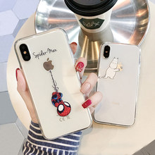 Para o iphone 6 7 8 6s 11 pro caso max para o iphone x xs xr 7 8 plus xs max 5 5S se capa de capa homem aranha transparente caso mickey corte(China)