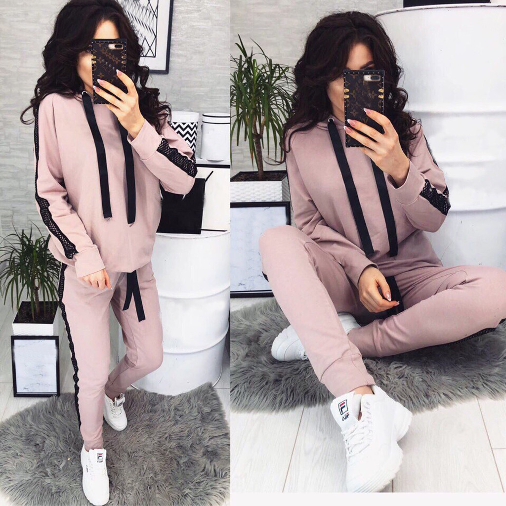 2020 New Casual Female's Tracksuit Fashion Suits For Women Two Piece Set Hoodies Tight Sportswear 2 Pieces Running Sports Suit
