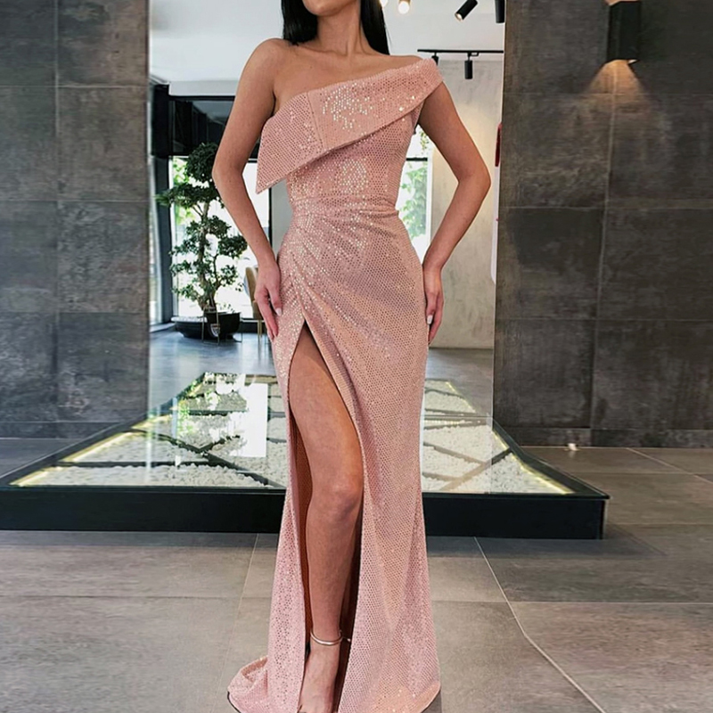 Linglewei New Spring and Summer Women's Dress one shoulder slit fitted dress long dress