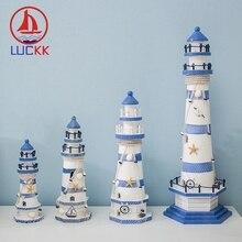 LUCKK Mediterranean Stripe Wooden Lighthouse Kit Model Home Decor Room Creative Marine Crafts Gift Fishing Net Shell Accessories