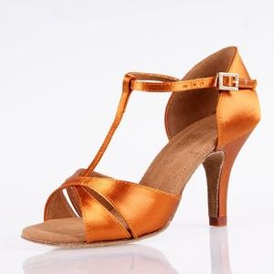 Image 2 - Hot Sale Women Latin BD Dance Shoe 2358 Satin Sandal Ladies Latin Dancing Shoes High Heel Soft Sole T bar Indoor