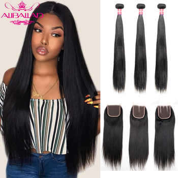 Indian Hair Bundles With Closure Straight Hair 3 Bundles With Closure High Ratio Remy Human Hair And 4x4Inch Lace Closure - DISCOUNT ITEM  42% OFF All Category