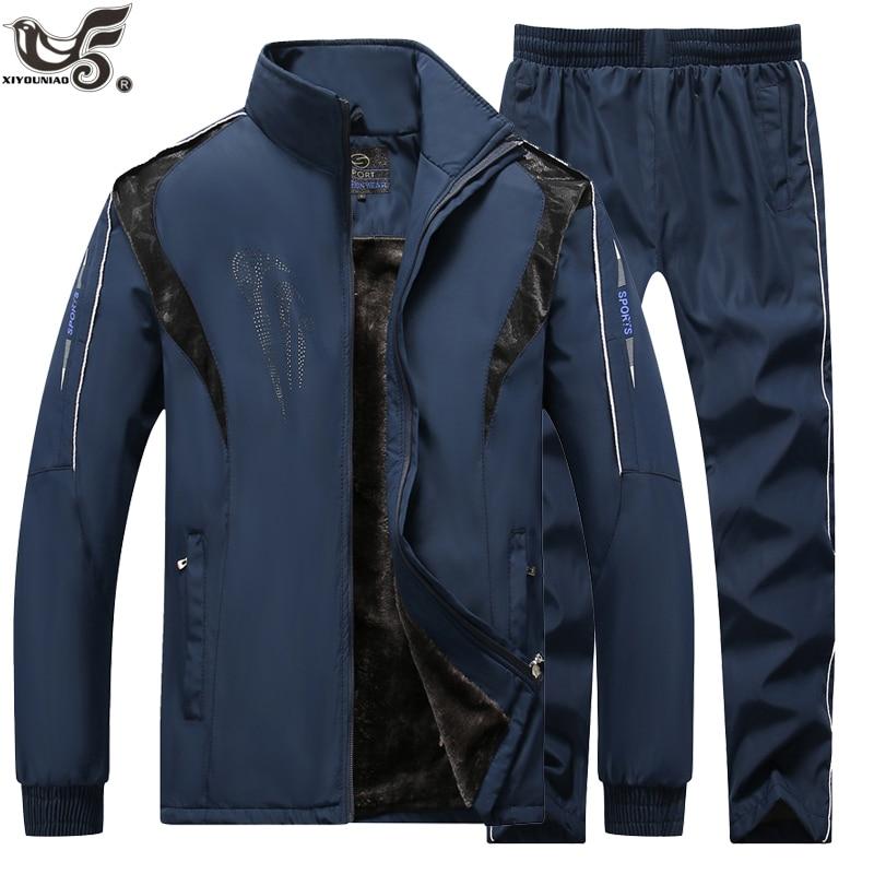 Men's Track Suit Set Winter Tracksuit Men Sportswear Two Pieces Wool Liner Sport Suit Jacket+Pant Sweatsuit Male Brand Clothing