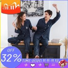 Çift pijama 2020% 100% pamuklu hırka uzun kollu erkek ve kadın pijama şerit işlemeli yaka çift ev takım elbise pijama