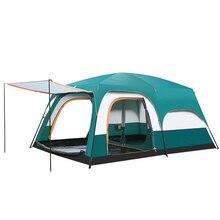5 10 คน Outdoor Camping เต็นท์คู่ 2 ห้องนอนกันน้ำขนาดใหญ่เต็นท์ครอบครัว