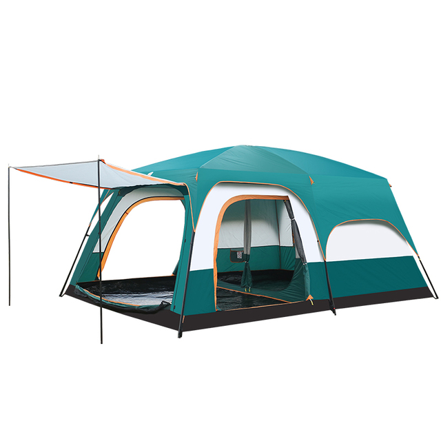 5 10 Person Outdoor Camping Double Layer Tent Two Bedrooms Waterproof Big Space Family Tent