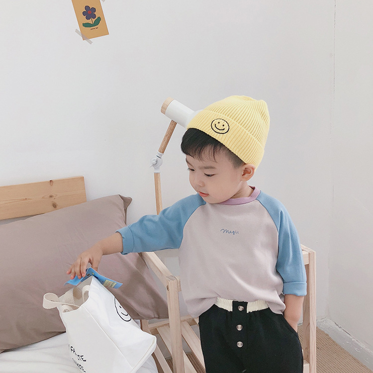 T-Shirts Raglan-Sleeve Girls Autumn Blocking Boys Cotton Color Letter Tees