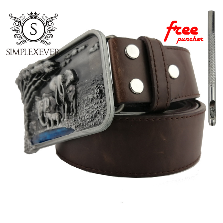 Men's Genuine Leather Belt Punk Elephant Belt Buckle 3D Silver Cowboy Belt Buckle For Men Drop Shipping