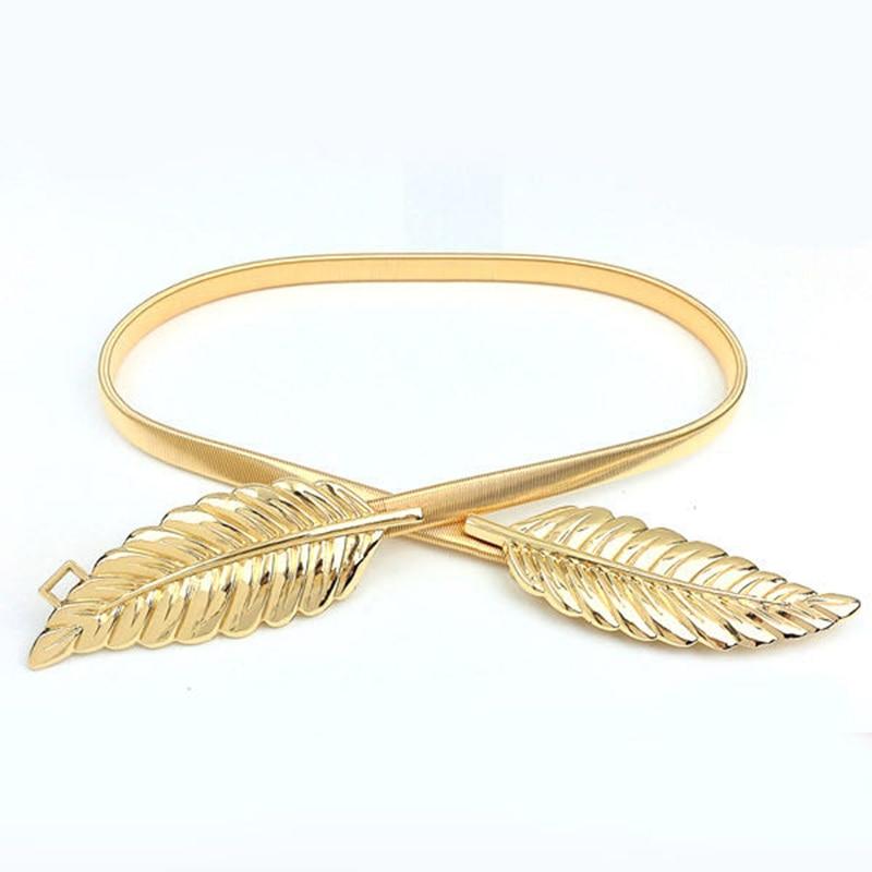 Fashion Belt 2020 Women Leaf Metal Waist Chain Ladies' Decorative Belt Elastic Gold Belt Woman's Fine Dress Belt