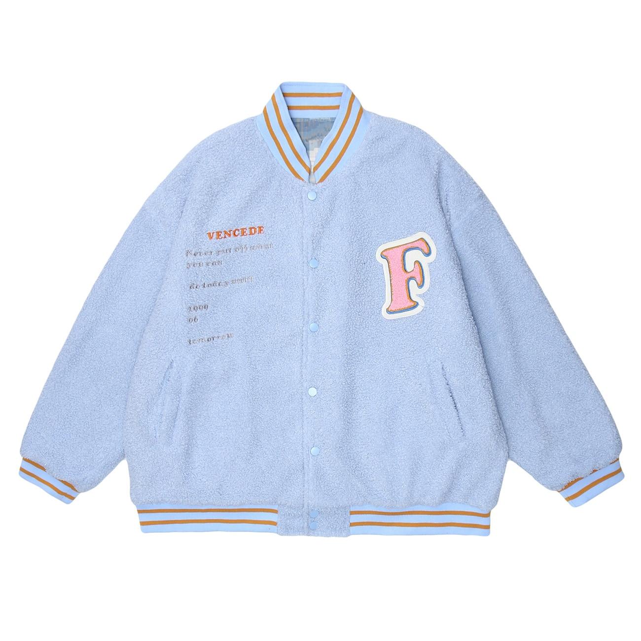 2020FW Hip Hop Baseball Jacket Reversible Bomber Jackets Mens Harajuku Streetwear Patchwork Lambswool Graffiti Unisex Outwear