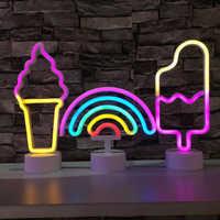 Luz de neón Led de neón de arco iris de colores, 11 estilos, para habitación, Fiesta en casa, decoración de boda, regalo de Navidad, lámpara de neón alimentada por USB/batería