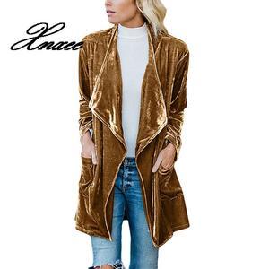 Image 3 - Xnxee ארוך שרוול רטרו קטיפה בלייזר מעיל אישה עטוף לפתוח חזית גבירותיי אלגנטי ארוך סגנון טרייל אביב Auutumn