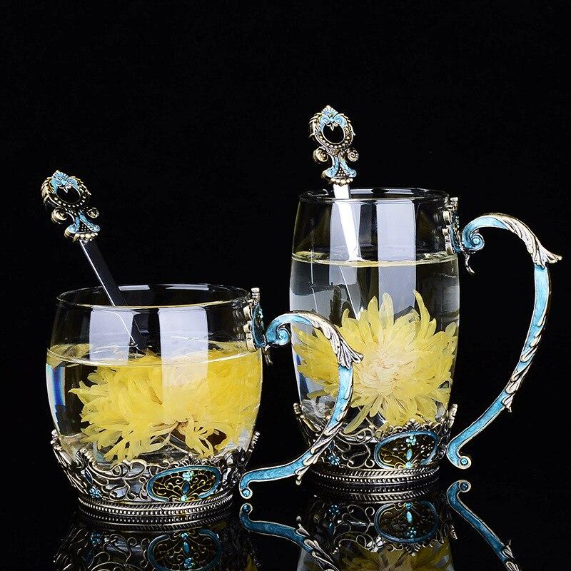 Emaille Europäischen Stil Kristall Tasse Tee Tasse Haushalt Hohe-temperatur Beständig Glas Flasche fa lang bei Tasse Blume Geschenk customiz