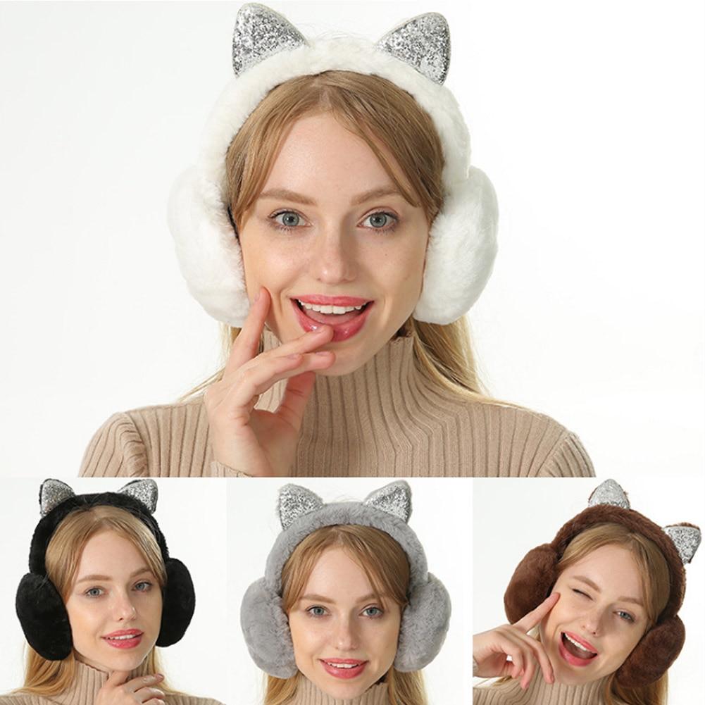 Women Earmuffs Cartoon Cat Ears Windproof Ears Warm Adjustable Earmuffs EIG88