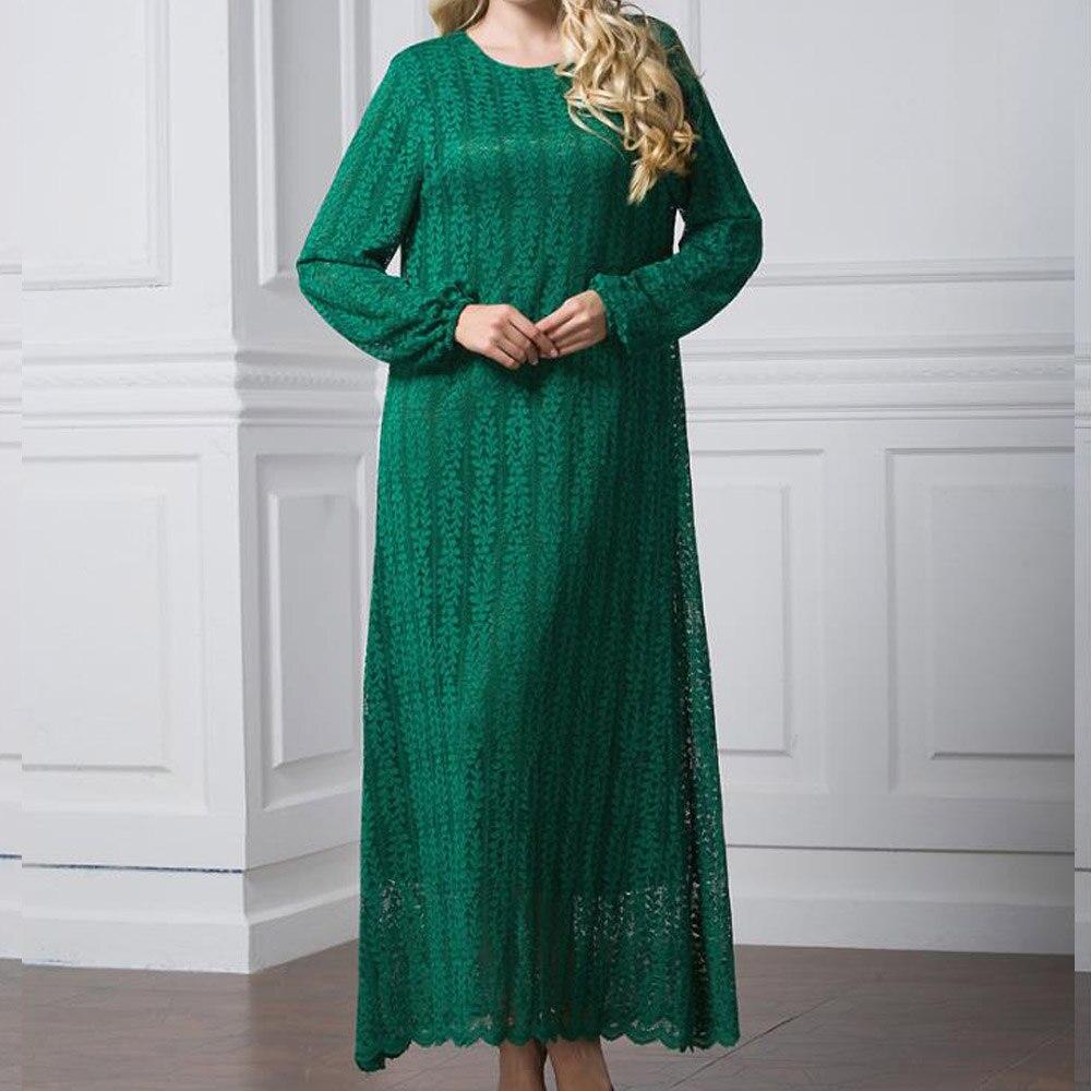 Femmes musulmanes manches longues dentelle broderie dubaï Robe lâche Maxi Abaya islamique femmes vêtements Robe caftan Robe Abaya marocaine