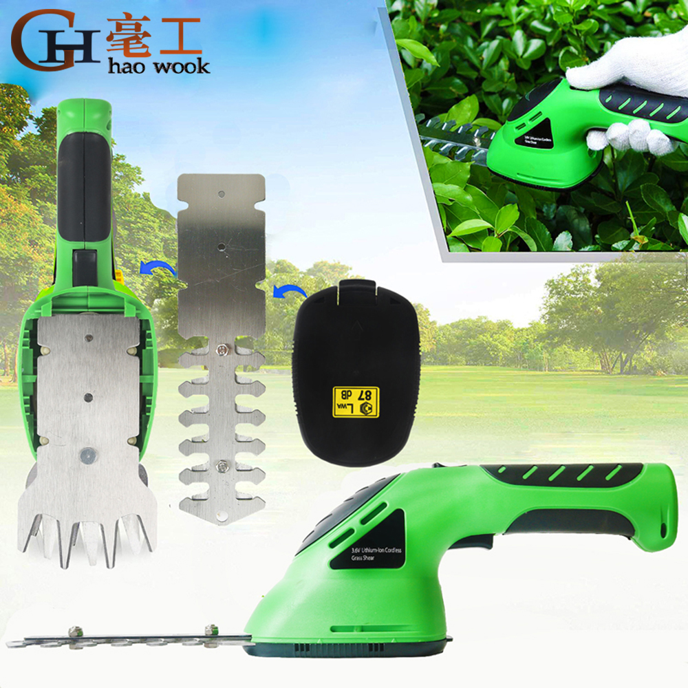 3 6V 2-in-1 Cordless Grass Shear Lithium-ion Rechargeable Hedge Grass Trimmer Shears For Lawn Mower Shrub shear Garden Tools