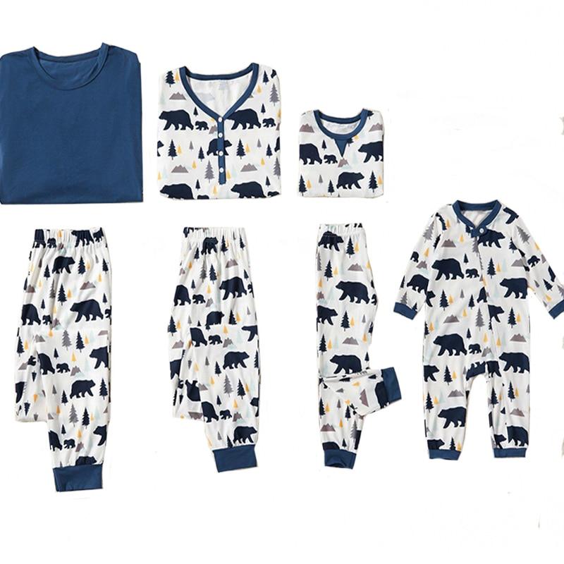 Рождественские пижамы для всей семьи, комплект рождественской одежды костюм для родителей и детей Домашняя одежда для сна новые одинаковые комплекты для семьи, для папы и мамы - Цвет: blue 820