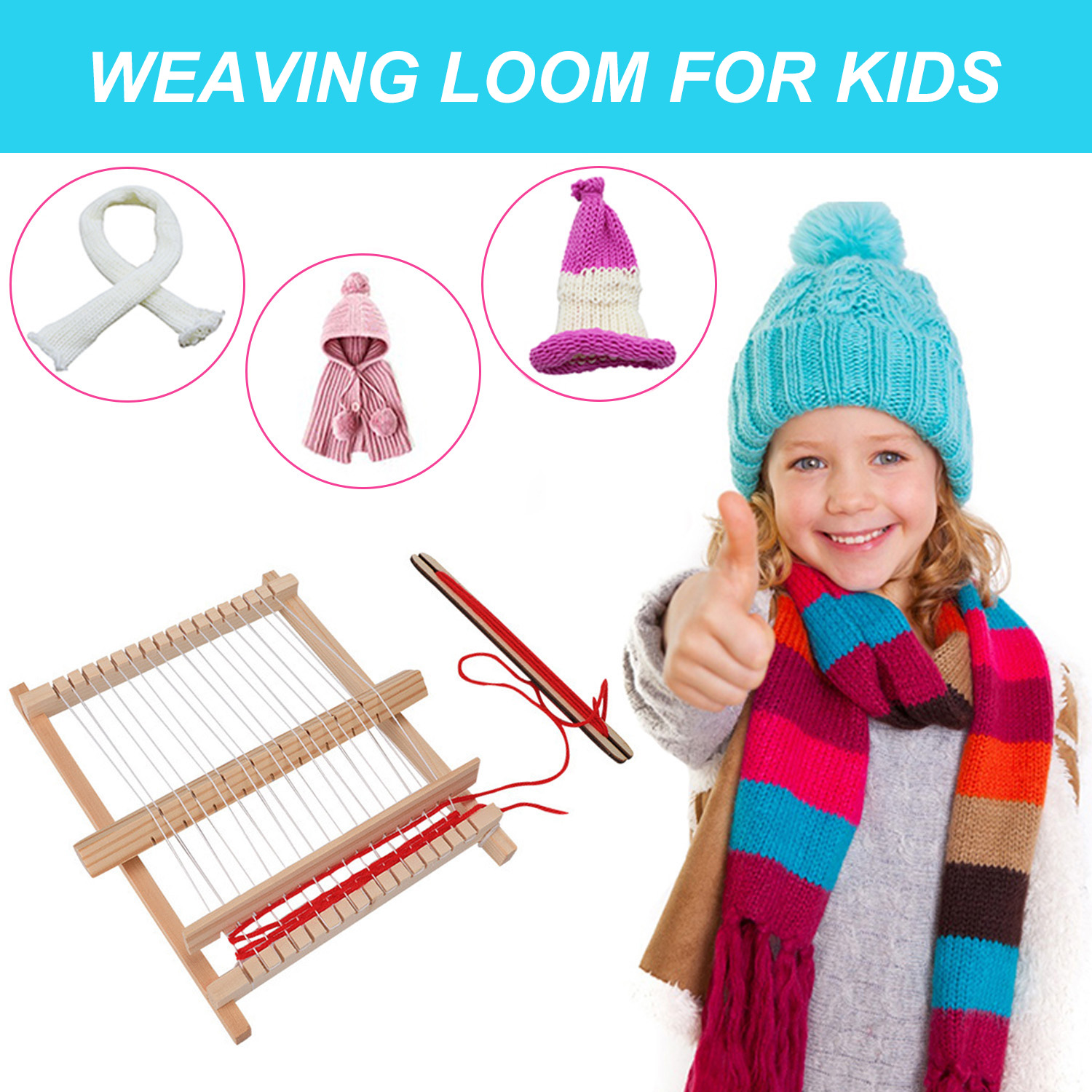Wooden Weaving Loom Frame Kit Kids DIY Weaves Crafts Supplies Educational Toys For Children Toddler Gifts